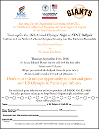 BASOC 16th Annual Olympic Night at the SF Giants